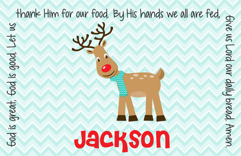Christmas Reindeer Boy Personalized Kids Placemat