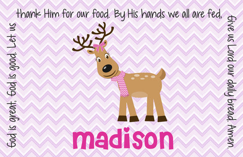 Christmas Reindeer Girl Personalized Kids Placemat