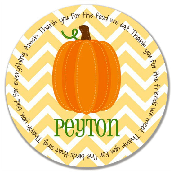 Thanksgiving Fall Harvest Pumpkin Personalized Kids Melamine Plate