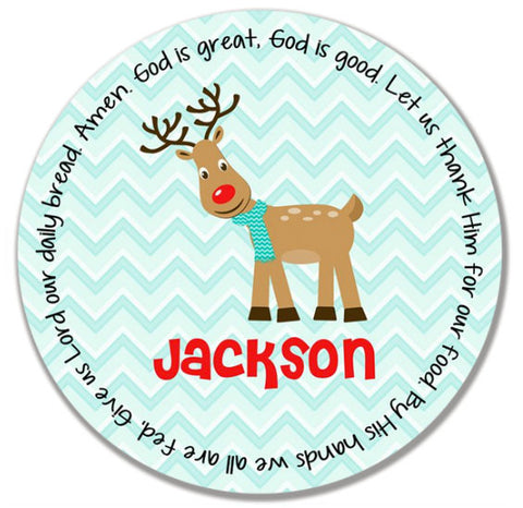 Christmas Reindeer Boy Personalized Kids Melamine Plate