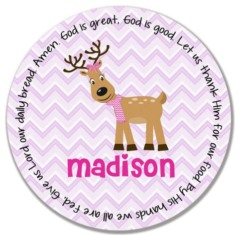 Christmas Reindeer Girl Personalized Kids Melamine Plate