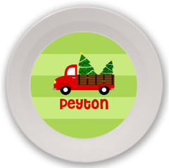 Christmas Red Truck Personalized Mealtime Set | 2-Piece