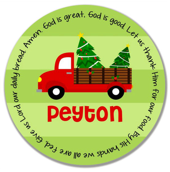 Christmas Red Truck Personalized Kids Melamine Plate