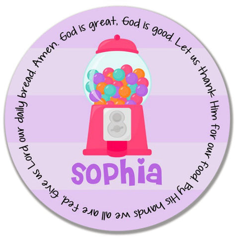 Gumball Girl Personalized Kids Melamine Plate