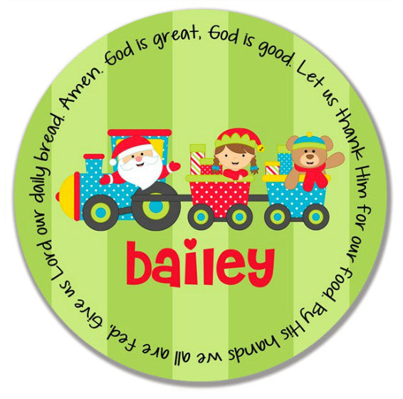 Christmas Santa Train Personalized Kids Melamine Plate