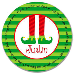 Christmas Elf Feet Personalized Kids Melamine Plate