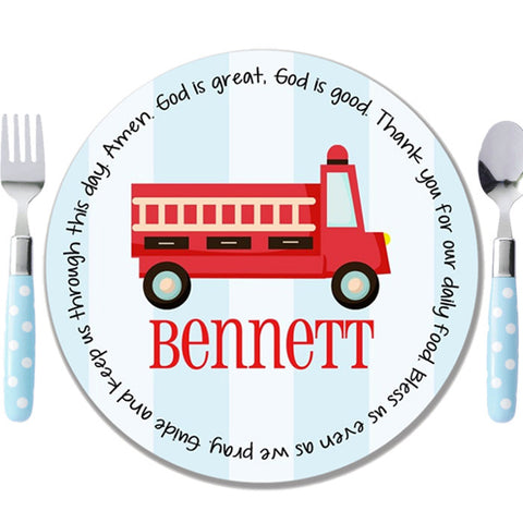 Fire Truck Stripes Personalized Kids Melamine Plate