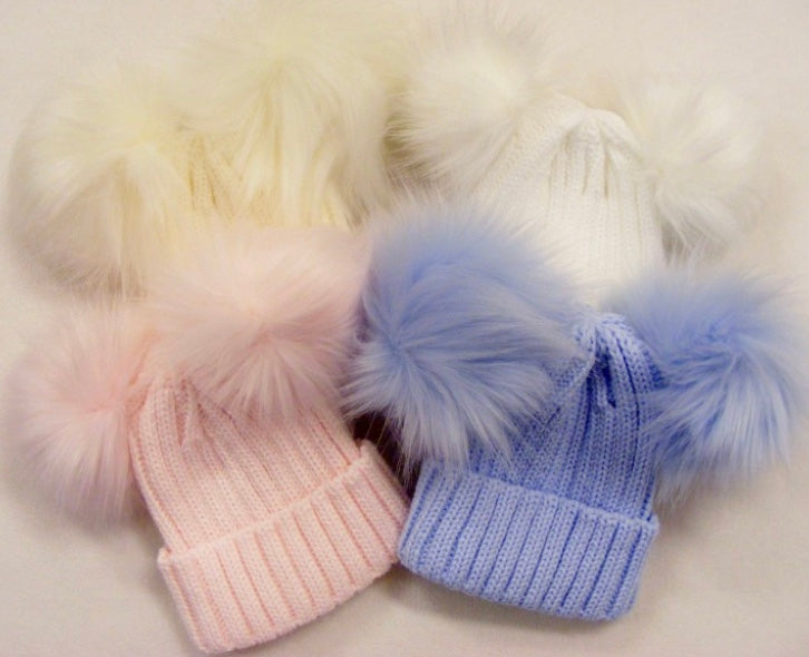 Knitted Double Faux Fur Pom Pom Hat