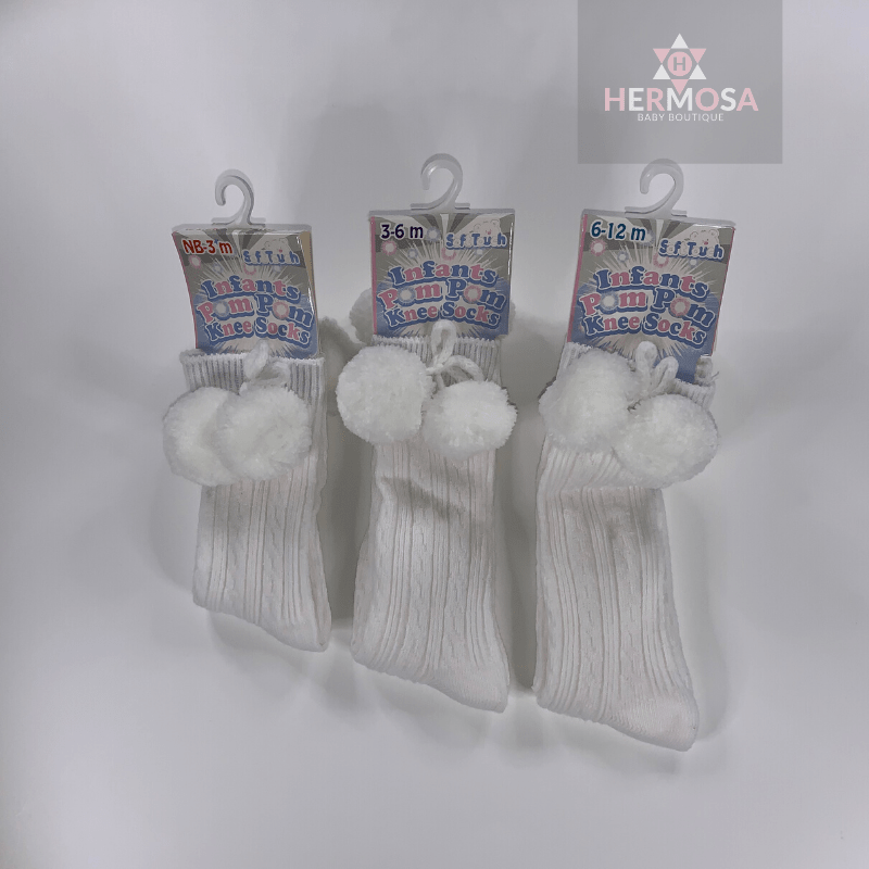 Soft Touch Ribbed Knee Pom Pom Sock