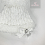 White First Size Pom Pom Hat With Diamanté Bow