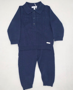 Navy Cable Knit Tracksuit