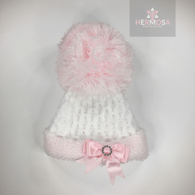 Pink / White First Size Pom Pom Hat With Diamanté Bow