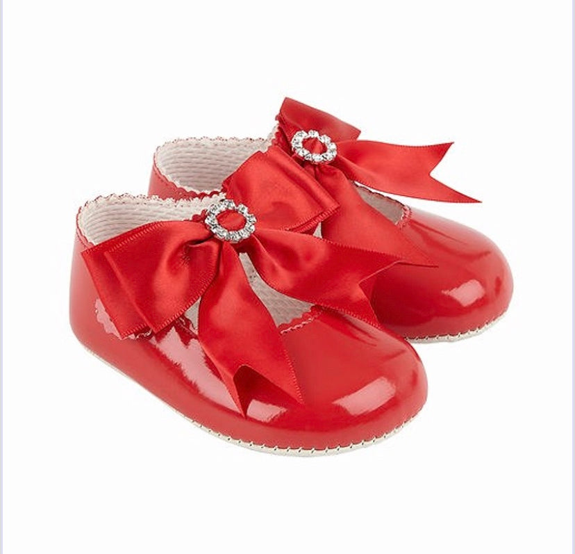 Red Large Bow Diamanté Soft Sole Shoe