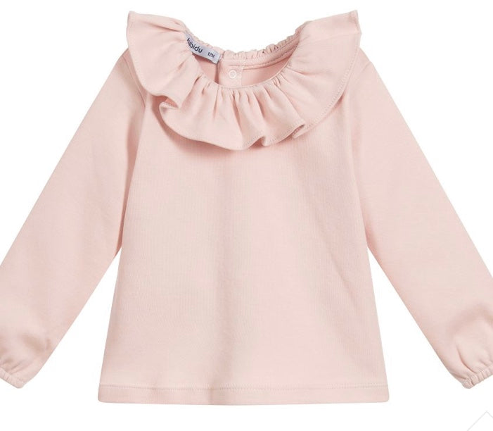 Pink Ruffle Collar Top