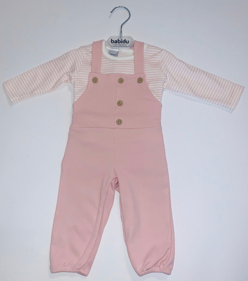 Pink Dungarees with Striped T-Shirt