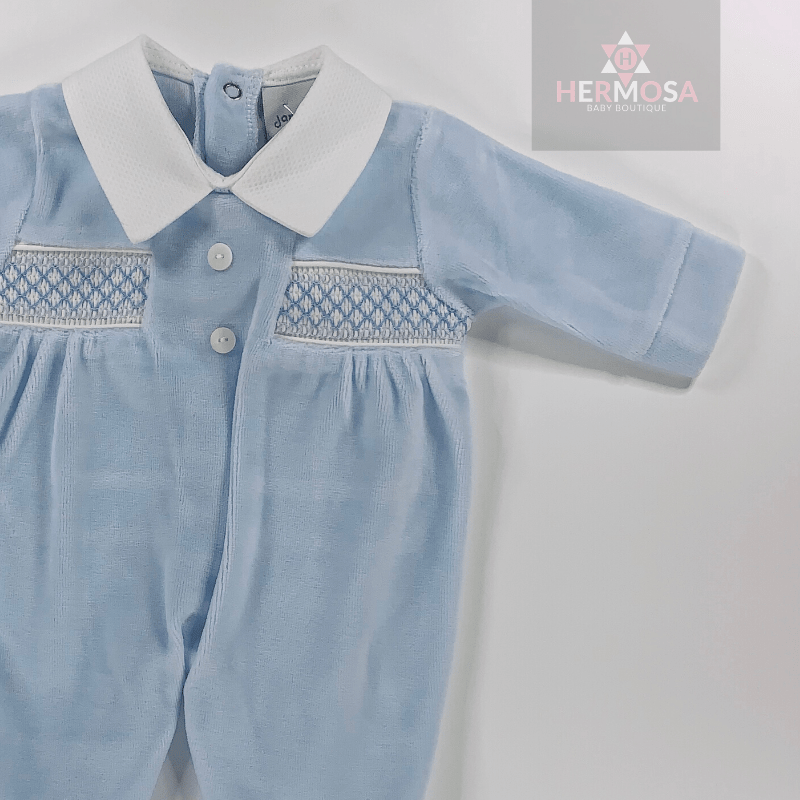 Blue Velour Smocked Sleepsuit