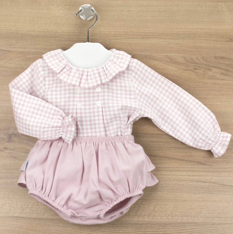 Dusty Pink Check Blouse & Ruffle Bloomers