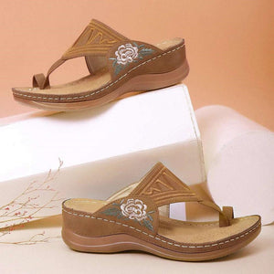 【Last 200 pairs】【Flash Sale💝 50% OFF⭐ Factory Outlet】EMBROIDERY COMFY WEDGES SANDALS
