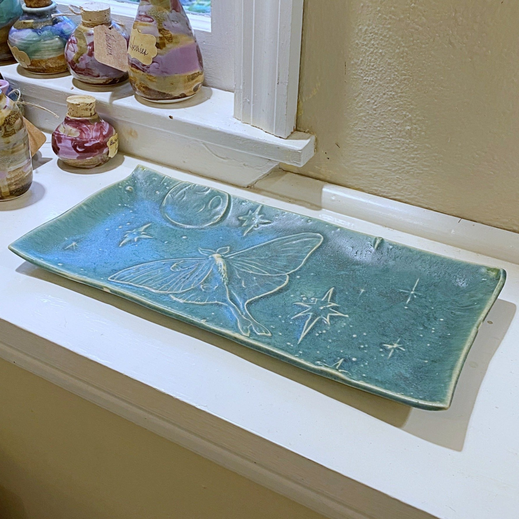 Luna Moth Porcelain Tray - Speckled Moss