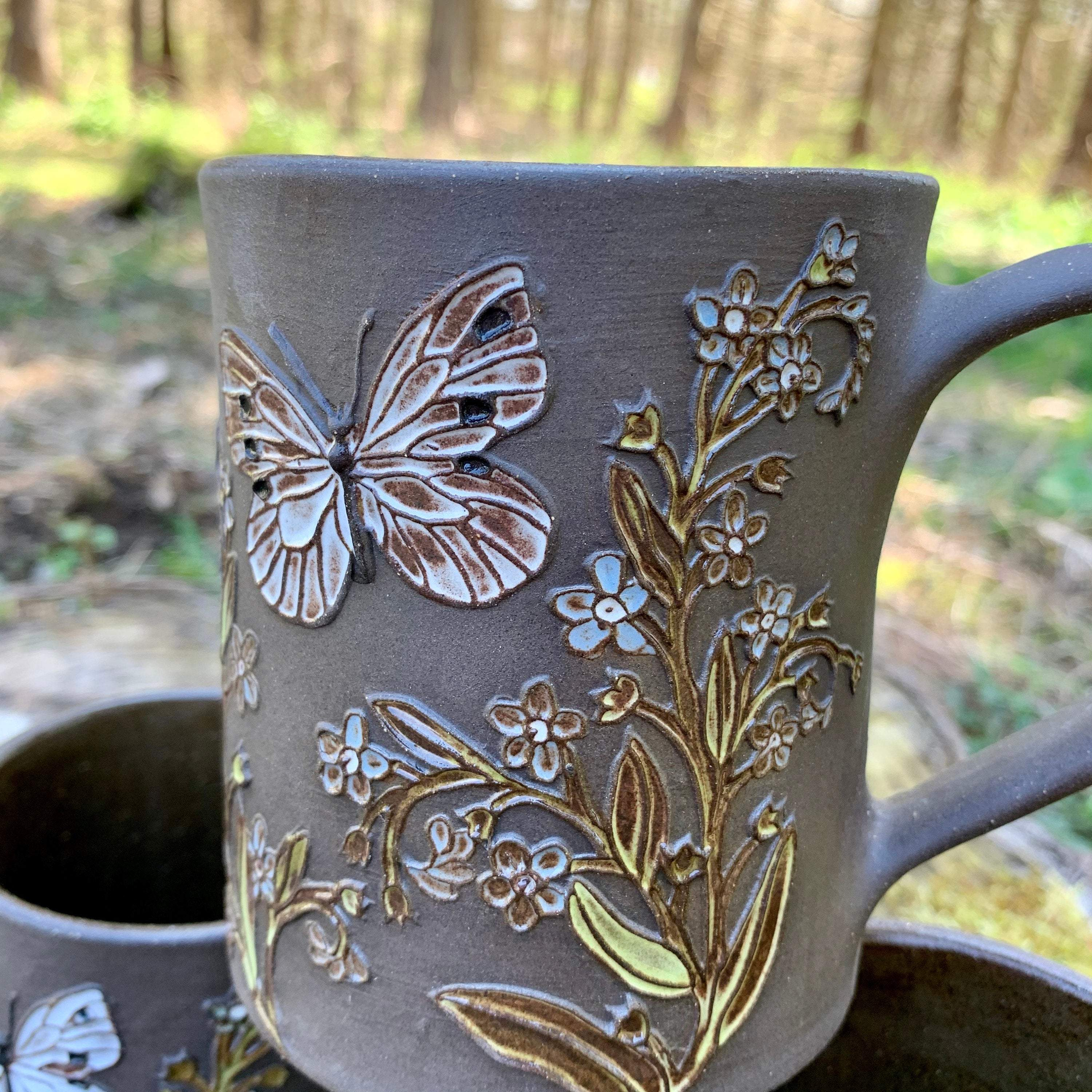 Cabbage White & Forget-Me-Not Mug (18-20 oz)  ~ Handmade in Studio