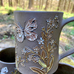 Load image into Gallery viewer, Cabbage White & Forget-Me-Not Mug (18-20 oz)  ~ Handmade in Studio