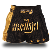 Muay Thai Shorts : Black and Gold Single Panel Stars