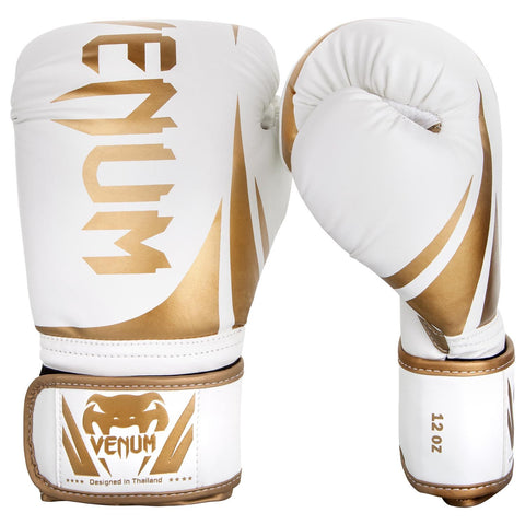 Venum Elite Boxing Gloves 16 Oz White Gold