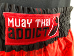 Muay Thai Shorts : Red w/ White Stripe Paed Tidt
