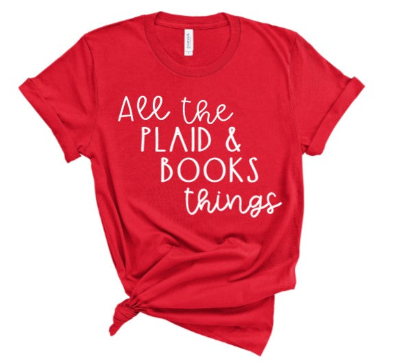 All the plaid and book things tee