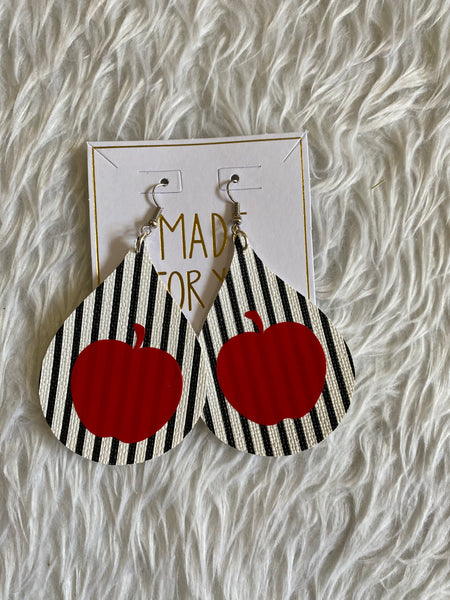 Black and White stripe w/ apple  Earrings