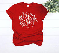 Merry and Bright  Christmas shirt for women,  holiday shirts for women, holiday graphic tees for women,