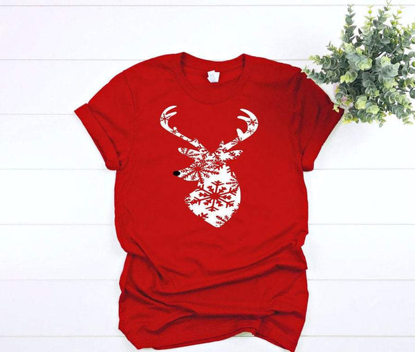 reindeer snowflake  tshirt,  christmas shirts for women, holiday graphic tees for women,