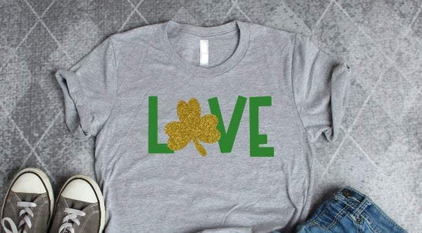 love glitter shamrock shirt, st patricks day shirt for women,