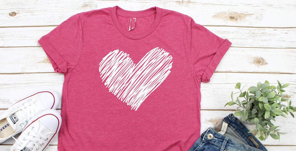 scribble heart valentines womens shirt, valentines day shirt for her, teacher valentines day gift