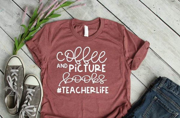 Coffee and picture book teacher life tee,