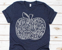 teacher apple graphic tees,
