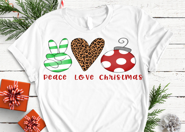 Love Peace and Christmas  White short sleeve tee