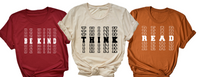 Be kind, Think, Read Bella Unisex tee