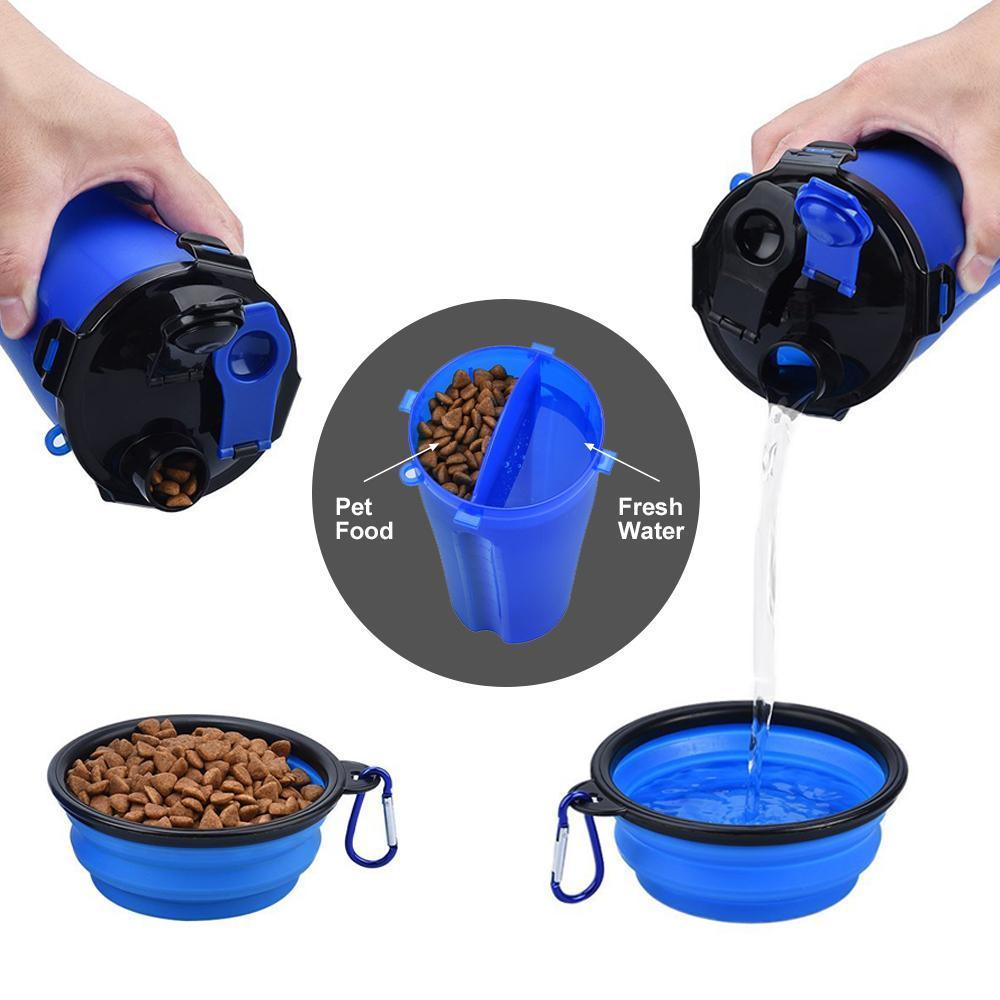 2 In 1 Dog Drinking Water Cup Bottle With Bowl - Carrywon
