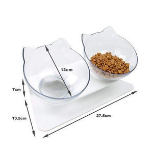 Pet Transparent Bowl with Holder Anti-slip Cat Food Dish Pet Feeder Water Bowl Perfect For Cats And Small Dogs - Carrywon
