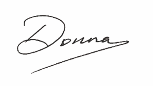Written signature of Donna Rhodes