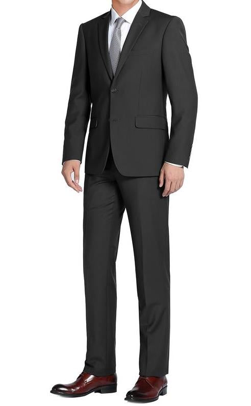 Black Single Breasted Notch Lapel Slim Fit Suit