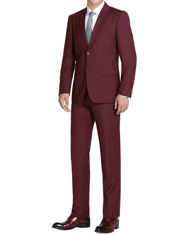 Burgundy Single Breasted, Notch Lapel Slim Fit Suit