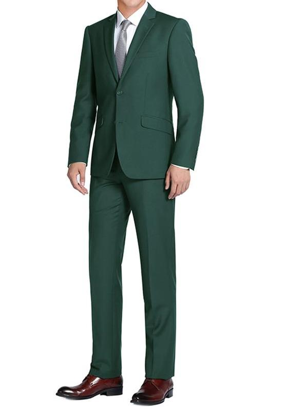 Forest Green Single Breasted, Notch Lapel Slim Fit Suit