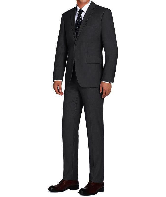 Charcoal Single Breasted, Notch Lapel Slim Fit Suit
