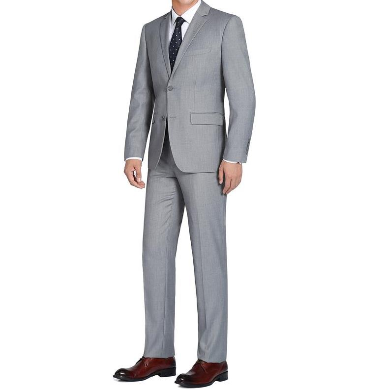 Light Grey Single Breasted, Notch Lapel Slim Fit Suit
