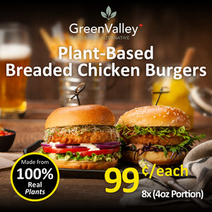 Green Valley Canada Plant-Based Breaded Chicken Burgers (8pc)