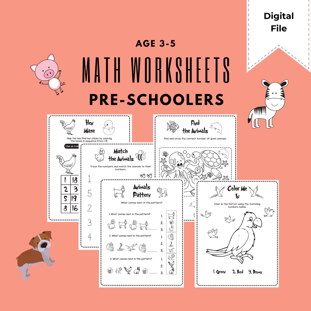 Pre School Math Worksheets: Printables for Kids