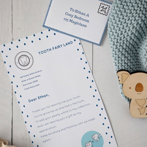 Printable Tooth Fairy Letter Set Blue