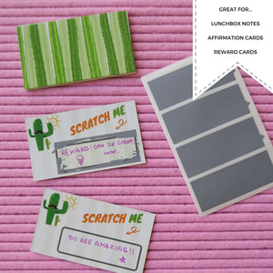 Scratch and Reveal Cactus Notes: Blank lunchbox notes, reward cards. Fun scratch stickers for kids